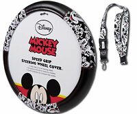 Mickey Mouse Face Expressions Speed Grip Steering Wheel Cover & Lanyard