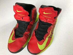 Nike-Hyperdunk-Shoes-Mens-SZ-10-5-Basketball-Beat-Worn-Red-Yellow-Black-No-Laces