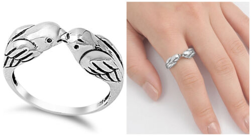 Sterling Silver 925 PRETTY KISSING LOVE BIRDS SPARROWS RING DESIGN  SIZES4-12