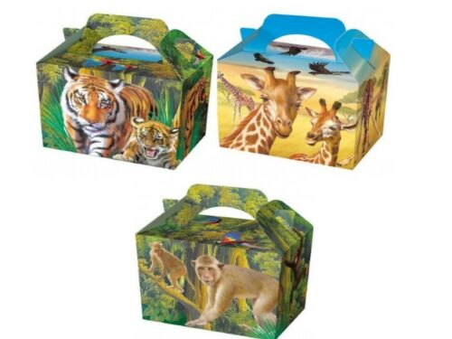Wild Jungle Animals P/W Meal Boxes ~ Birthday Party Food Bag ~ Picnic Plate Box