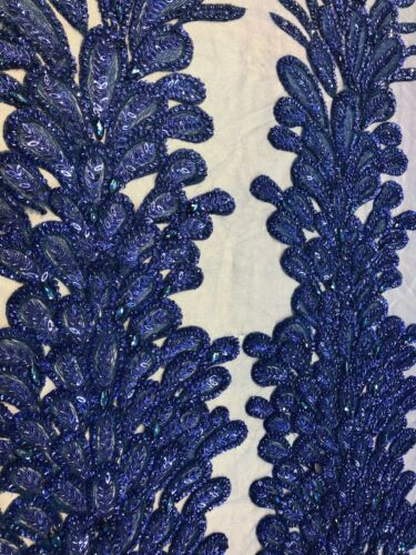 R-Blue Sequins and Beaded Peacock Feathers Embroided On Mesh Sold By 2 Reathers