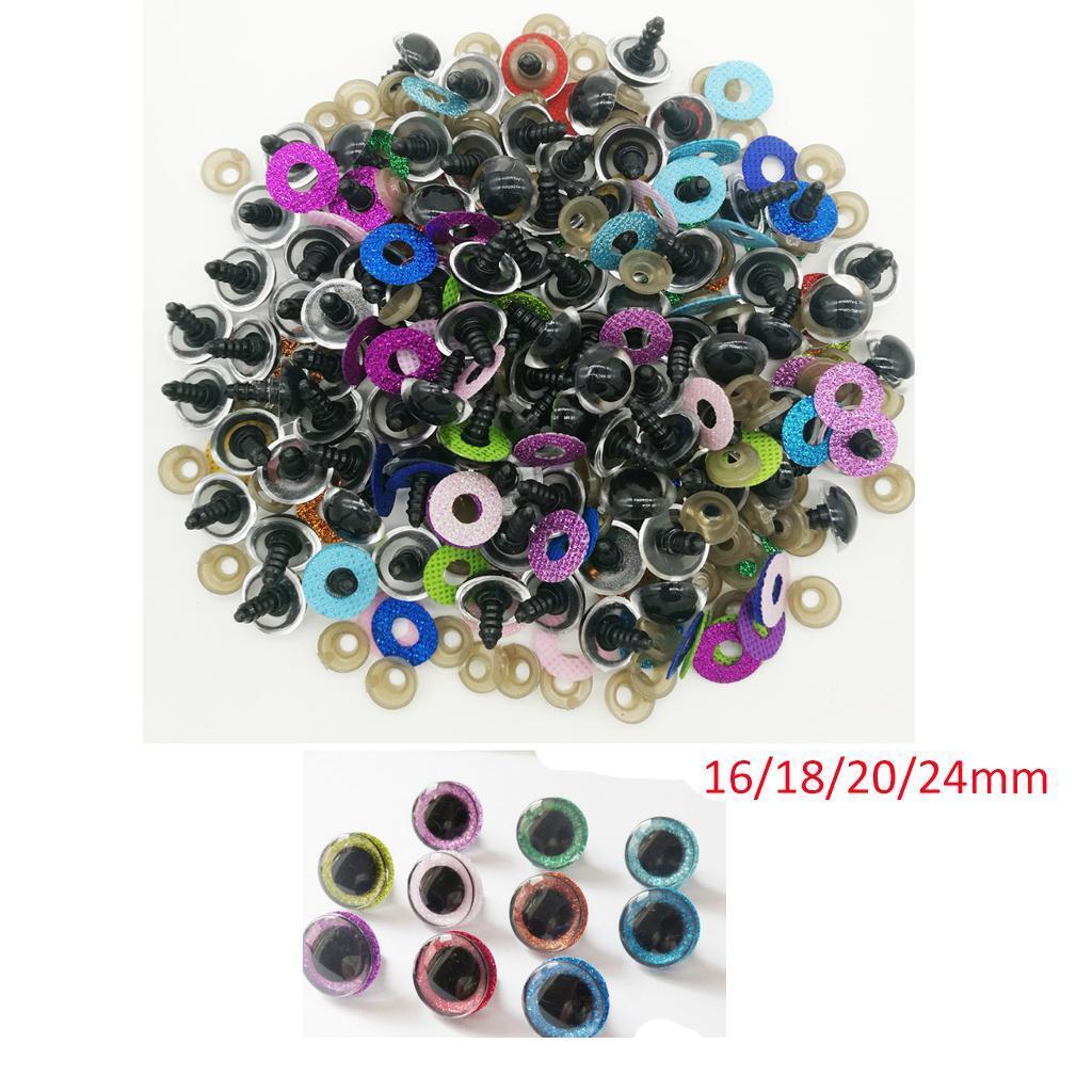 10pcs Plastic Round Safety Eyes + Glitter Nonwovens + Washer For Teddy Bear DIY