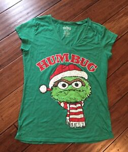 Details About Sesame Street Oscar The Grouch Bah Humbug Holiday Christmas Santa T Shirt Xl
