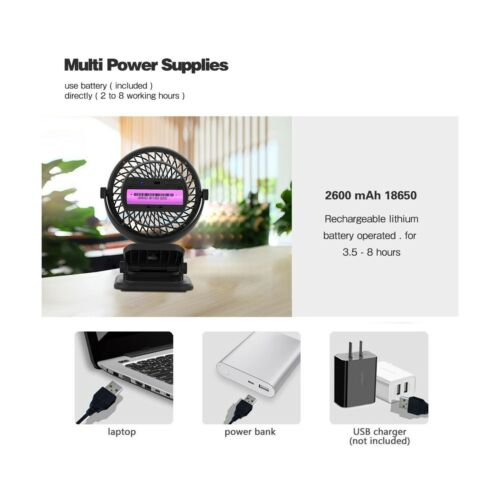Rechargeable Battery Anglink Clip on Fan for Stroller 4 Speeds 2600mAh Black