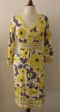 Womens BODEN Yellow & Gray Flower Print Knit Dress ~ US 6 / UK 10 (E18)