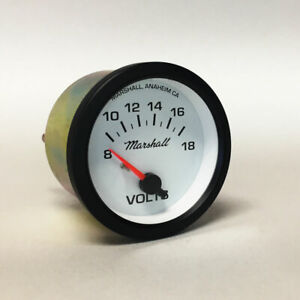 "Marshall 2-1/16"" Volts Gauge, White Dial, Black Bezel, 2221BLK"