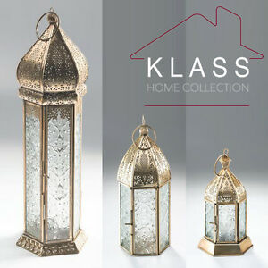 Moroccan French Style Aged Brass Patterned Glass Lantern