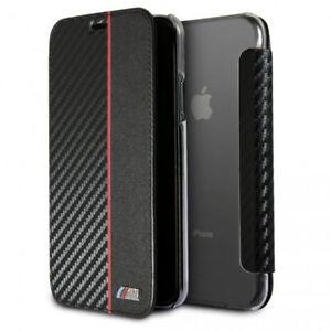 BMW-CARBONO-Estuche-Funda-para-Apple-iPhone-x-5-8-Carcasa-Libro-PROTECTORA-NEGRA