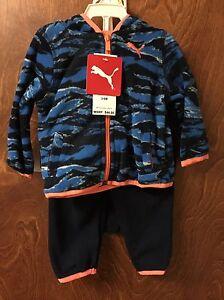 7186f914a2e4 PUMA Boy s 3 Piece Micro Fleece Outfit Set Size 3-6 Month DEEP NAVY ...