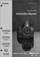 Canon VIXIA HF M50, M52, M500 Camcorder User Instruction Guide  Manual