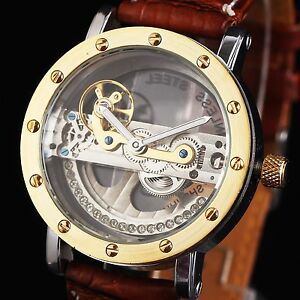 CLASSIC-GOLDEN-BRIDGE-DESIGN-New-Men-039-s-Automatic-Mechanical-Watch-Leather-band