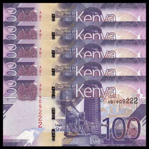 UNC Lot 5 PCS P-NEW 2019 Kenya 100 Shillings