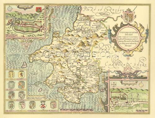 Pembrokeshire St Davids Pembroke Replica giclée PRINTED Speed Old Map 1610