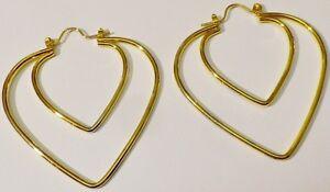 Boucles D'oreilles Percées Bijou Vintage Couleur Or Anneaux Double Coeur 1972 Pour Assurer Des AnnéEs De Service Sans ProblèMe