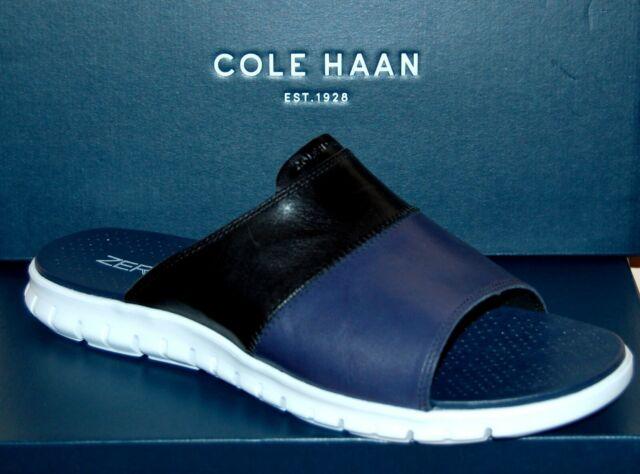 f1eb00f1b46c1 Cole Haan Mens Zerogrand Slide Black/optic White Flip Flops Sandal Shoes Sz  12