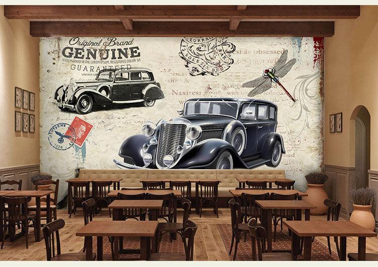 3D Dragonfly Old Car 8 Wall Paper Murals Wall Print Wall Wallpaper Mural AU Kyra