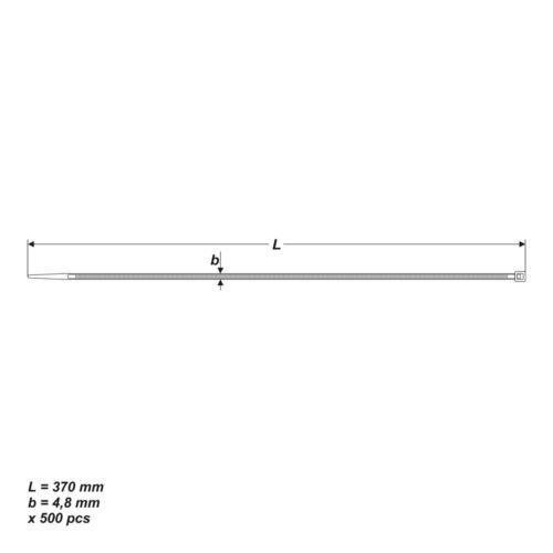 Kabelbinder 500 St UV stabil Länge 370mm Breite 4,8mm Schwarz Tragkraft 22,2kg