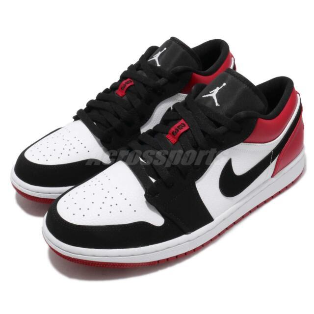 finest selection 1ce22 a1cd7 Nike Air Jordan 1 Low Black Toe White Black Gym Red AJ1 Sneakers Shoe  553558-116