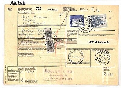 In Staat Az263 1973 Switzerland High Values Zermatt *insured Mail* Card Italy Pts Wees Nieuw In Ontwerp