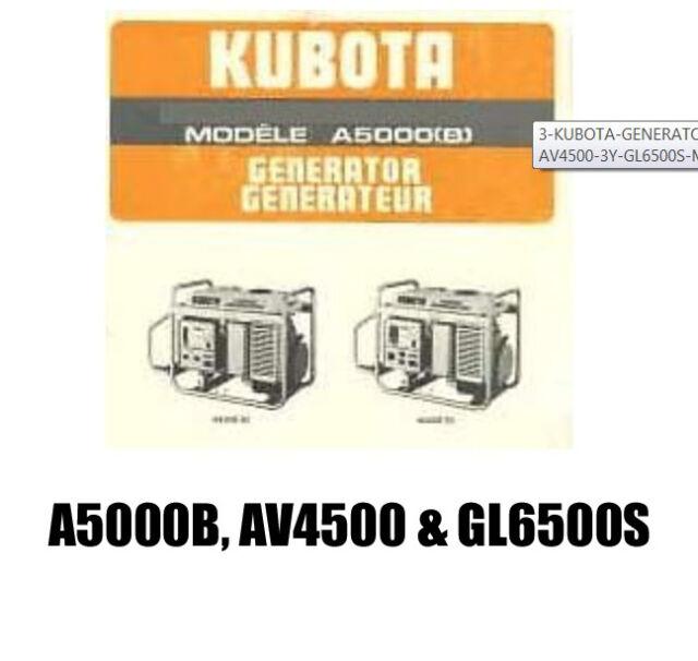 3 kubota generator a 5000 b 3 120 y and av 4500 3 y gl 6500 s manual rh ebay com Kubota L4060 Parts Manual Kubota L4060 Operators Manual