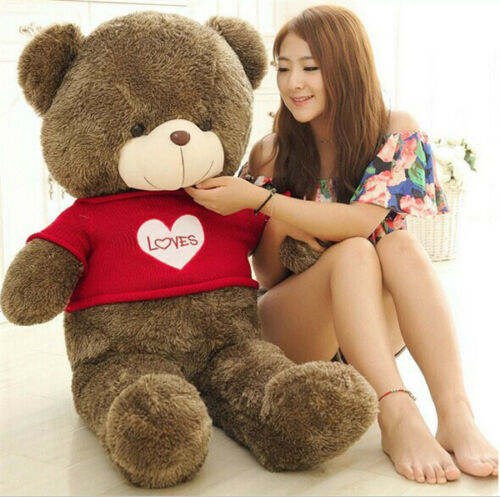 47/'/' Huge Brown Teddy Bear Plush Pillow Beautiful Gift Soft Toys Doll Sweater
