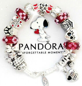Image Is Loading Authentic Pandora Silver Charm Bracelet European Charms Red