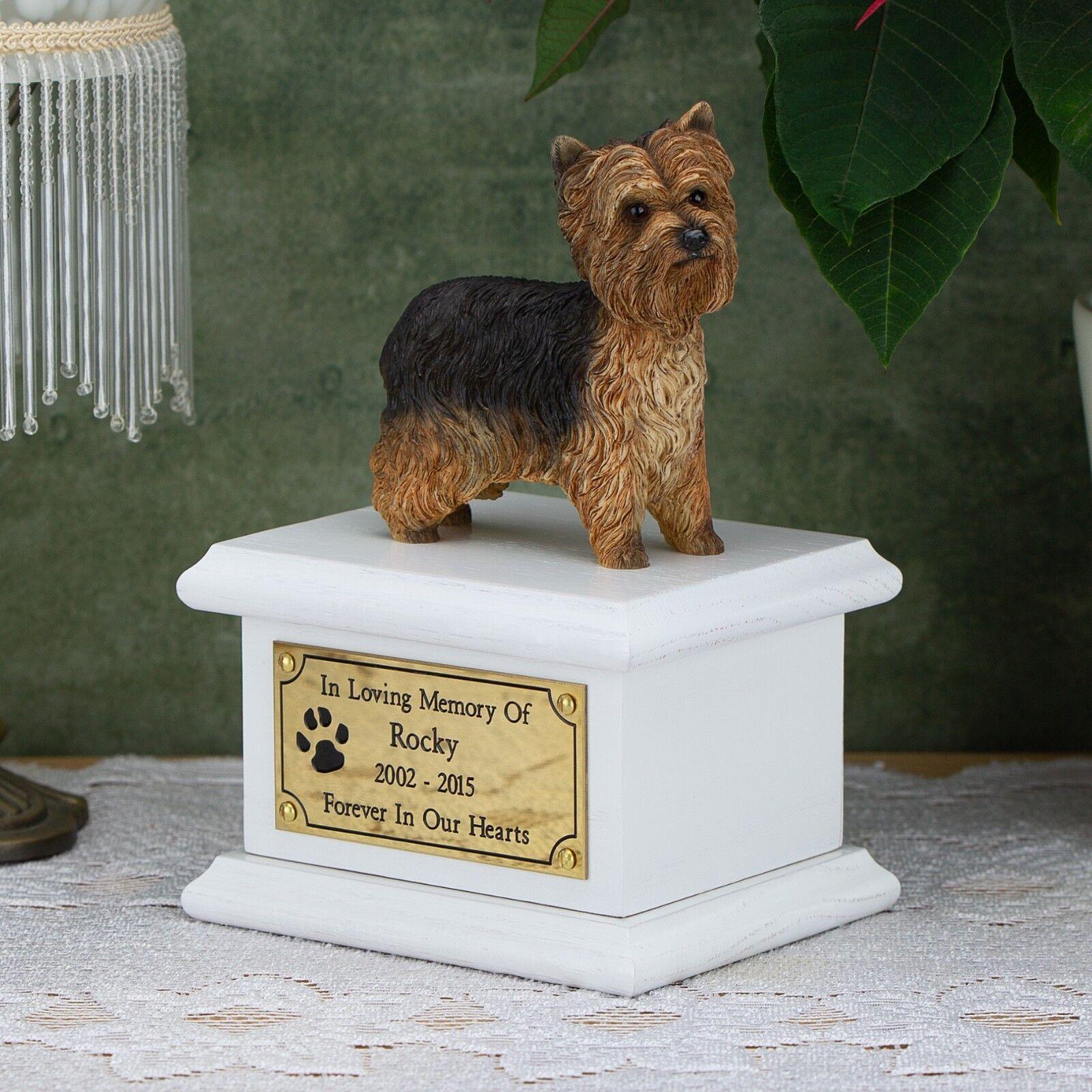 Solid Wood Dog White, Cremation Urn   Casket, Yorkshire Terrier