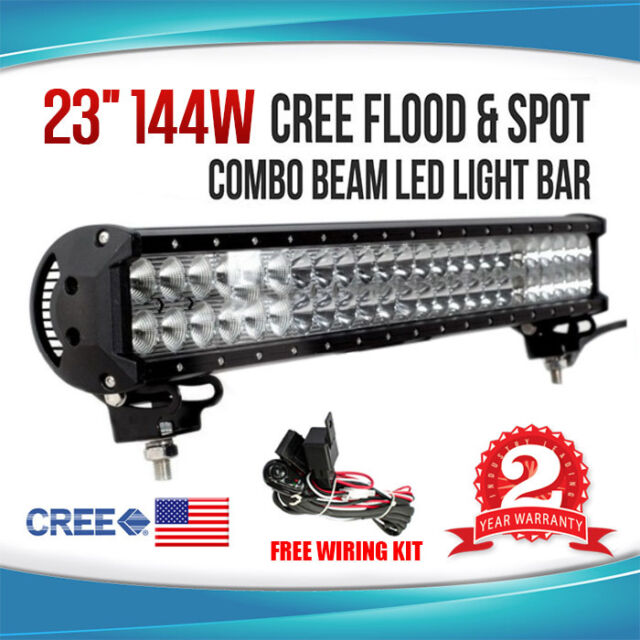 23INCH 144W CREE LED WORK LIGHT BAR FLOOD SPOT COMBO OFFROAD LAMP