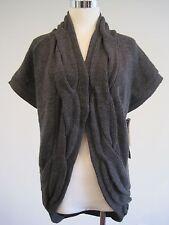 NEW ISDA&CO Wool Alpaca Grey Shrug Cardigan Sweater Short Sleeve Medium M