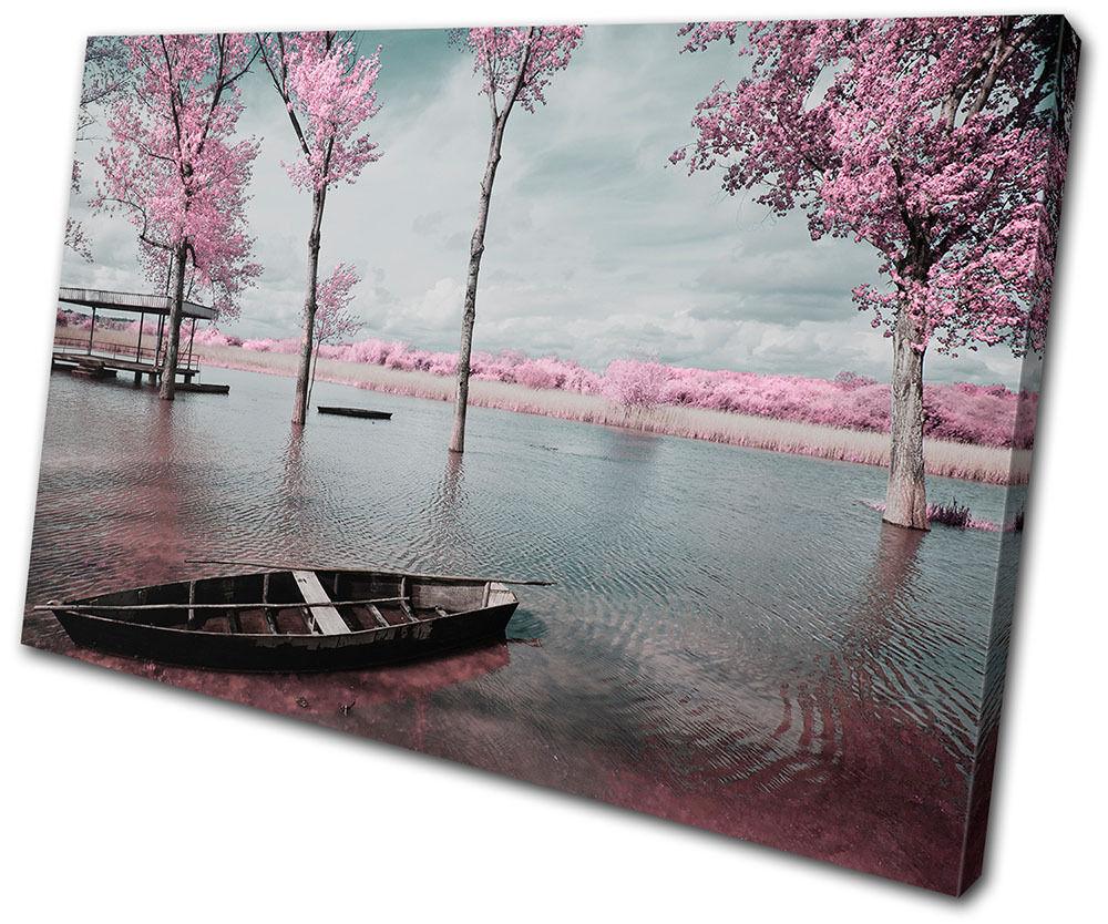 Sunset Seascape  Tree Blossom rosa rosa rosa SINGLE TELA parete arte foto stampa 0f72c2