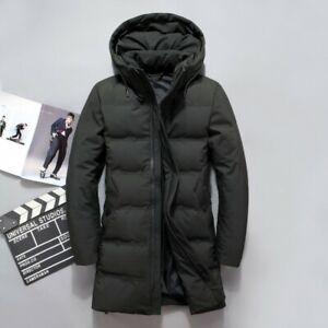 Men's Winter Hooded Warm Long Jackets Padded Down Coat Slim Puffer Down Outwears