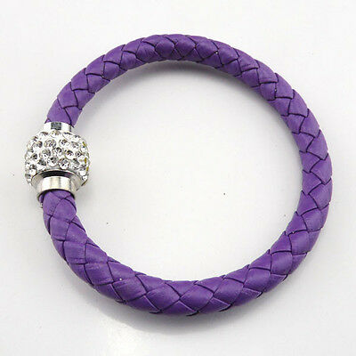 NEW Leather Wrap Wristband Cuff Punk Magnetic Rhinestone Buckle Bracelet Bangle