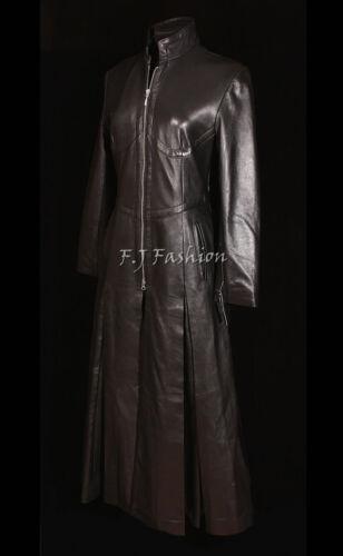 Matrice de Lady Trinity Mesdames femmes pleine longueur d'agneau cuir véritable manteau long