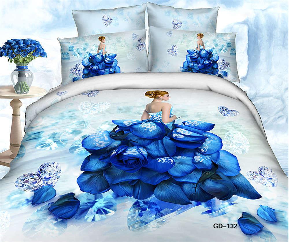 Blau Flower Dress 3D Printing Duvet Quilt Doona Covers Pillow Case Bedding Sets