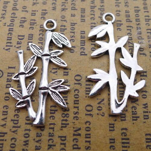 10pcs Charms Bamboo Tibetan Silver Beads Pendant DIY 15*29mm