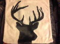 Pottery Barn Stag Reindeer Printed Faux Fur Pillow Cover Christmas