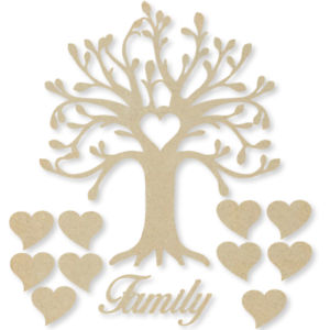 Curvas árbol familiar Kit Set Corazón 3 Mm Mdf Corte Láser De Madera Artesanales En Blanco Al Por Mayor