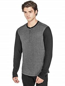dfe1698ff90e80 GUESS Mens Grey & Black Long Sleeve Oversize Henley T-Shirt Top L ...