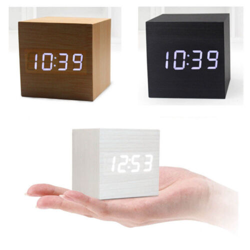Unique Cube Wooden Wood Digital LED Desk Voice Control Alarm Clock Thermomete KK