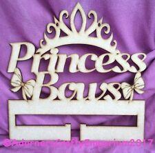 Princess Tiara Bow Hair Clip Holder Wood Mdf Sign Craft Shape Plaque 25cm