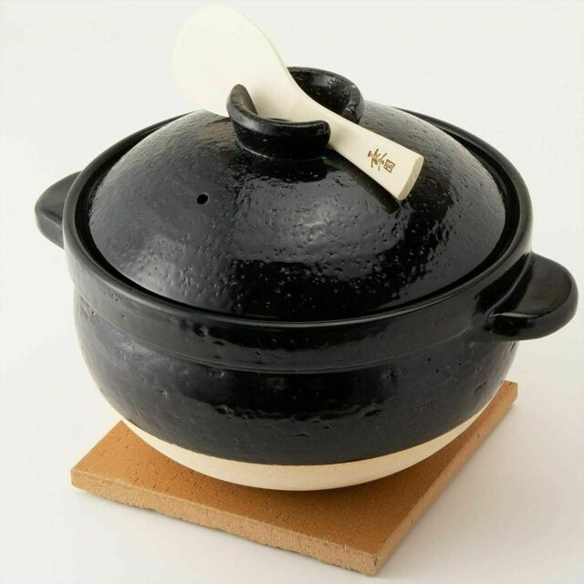 Nagatanien Kamado san Donabe CT-50 Black Iga ware Rice Cooker 26cm New From JP