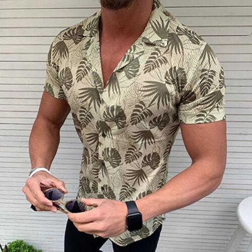 Mens Boho Summer Floral Beach Tops Blouse Short Sleeve Hawaiian Holiday T Shirts