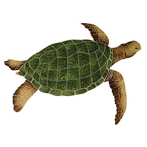 "Mosaic Sea Turtles for Swimming Pool or Wall  2 color and 3 size choices 12""-35"""