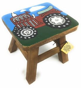 Phenomenal Details About Solid Wood Hand Carved Small Childs Kids Stool Furniture Painted Red Tractor Creativecarmelina Interior Chair Design Creativecarmelinacom
