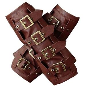 Restyle-Brown-Faux-Leather-Steampunk-Brass-Straps-amp-Buckles-Arm-Warmers-Gloves