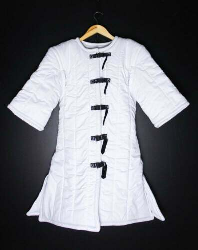 Details about  /Medieval Viking Renaissance White Color Gambeson Thick Padded Armor Reenactment
