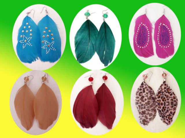 schicke Federn  Ohrringe  Ohrschmuck- Modeschmuck  Farbe wählbar NEU