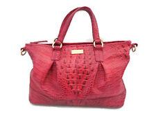 Brahmin Croc Leather Melbourne Red Very Large Tote Satchel Handbag Purse