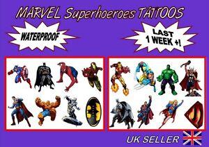 SPIDERMAN heroesTEMPORARY TATTOO kids party LAST 1 WEEK loot bag X8 X16 Feesten, speciale gelegenheden