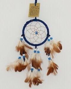 Traumfaenger-D-9-cm-blau-Perlen-Federn-Indianer-Traeume-Wildleder-Dreamcatcher